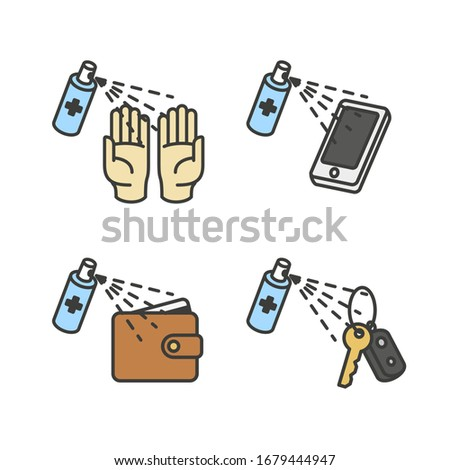Coronavirus, 2019-nCoV, Covid-19. Vector abstract infographic: personal protection. Flat outline icons of sanitizer spray for disinfection hands, mobile phone, wallet, keys