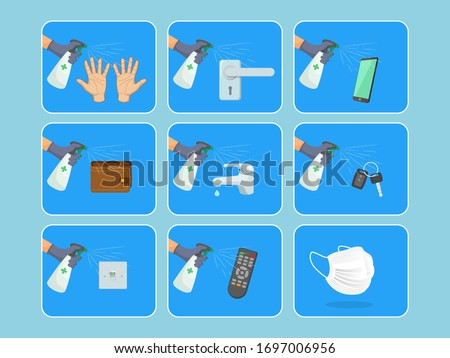 Coronavirus, 19-nCoV, Covid-19. Vector abstract infographic: personal protection in quarantine. Flat icons of a mask, online shopping, sanitizer spray for disinfection hands, phone, wallet, keys,