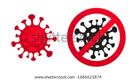 Coronavirus, 2019-nCoV, Covid-19. Vector concept abstract illustration STOP CORONAVIRUS. Flat outline icons of a virus and a stop sign (crossed out), coronavirus sing isolated on white background