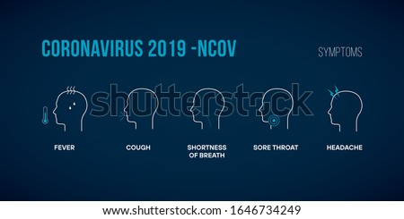 Coronavirus 2019-nCoV Infographic with Symptoms  Stock Illustration. The Virus Attacks the Respiratory Tract, Pandemic Medical Health Risk. Human are Showing Coronavirus Symptoms and Risk Factors.