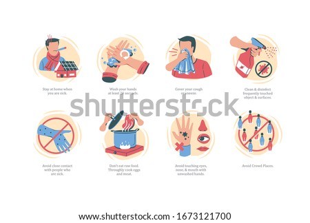 Coronavirus 2019-nCoV prevention icons set for infographic. Hand drawing style icons. Casual
