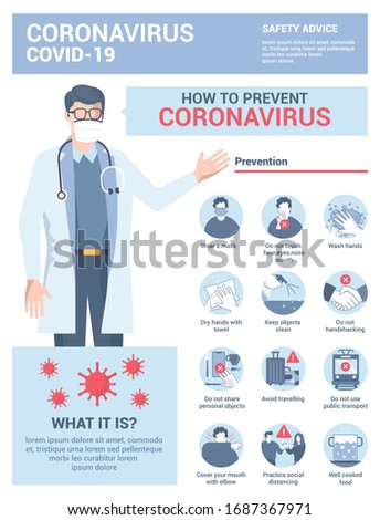 Coronavirus 2019-nCoV prevention tips, how to prevent coronavirus and healthcare educational infographic. Vector Illustration