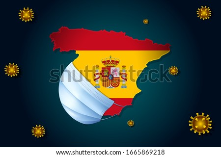 Coronavirus or Corona virus concept for Spain. Spain in a medical mask protects itself from COVID-19. Viruses are around Spain