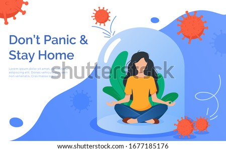 Coronavirus outbreak vector concept. A girl sits in a meditation pose under a glass cap. Covid-19 virus in air. Staying home with self quarantine. Protect from viruses