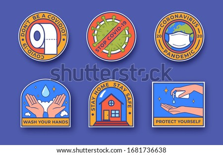 Coronavirus outbreak vector concept. Covid-19 colourful badges. Staying home with self quarantine. Protect yourself from viruses, wash your hands. Coronavirus pandemic