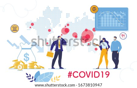 Coronavirus Outbreak World Viral Shedding and Global Economy Crisis, Financial Crash. Stock Market Chart Fall and Upset Businessman, People in Facial Mask. Negative Covid19 Impact on Investment Price