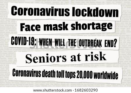 Coronavirus pandemic crisis newspaper titles. COVID-19 global pandemic. News headline collection vector. ストックフォト ©