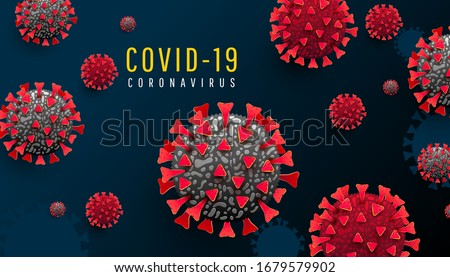 Coronavirus pandemic medical infographics horizontal background with infected covid 19 cells or bacteria on a dark blue background. COVID-19, dangerous virus vector illustration