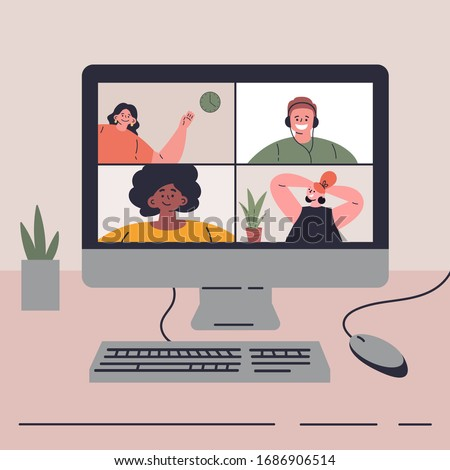 Coronavirus pandemic.Video conference with friends on quarantine.Video call on computer.Entertainment during quarantine.Vector colorful illustration.Flat cartoon character