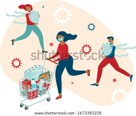 Coronavirus panic shopping. Terrified people runnigwith full cartsbuyingall groceries they can find in supermarkets. COVID-19 concept flat vector  Foto stock ©