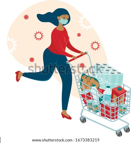 Coronavirus panic shopping. Terrified woman runnig with full cart buying all groceries she can find in supermarket. COVID-19 concept flat vector character