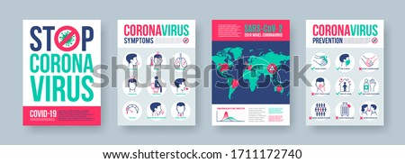Coronavirus poster set with infographics elements. Novel coronavirus 2019-nCoV banners. Vector illustration.