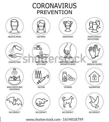 Coronavirus Prevention. Coronavirus icon set for infographic or website. New epidemic (2019-nCoV). Safety, health, remedies and prevention of viral diseases. Isolation. Vector illustration