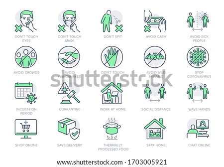 Coronavirus prevention line icons. Vector illustration include icon - social distance, quarantine violation, incubation period, avoid handshakes, stay home pictogram for infographic, green color.