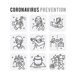 Coronavirus Prevention Set Icons Thin Style Pictogram Minimalist