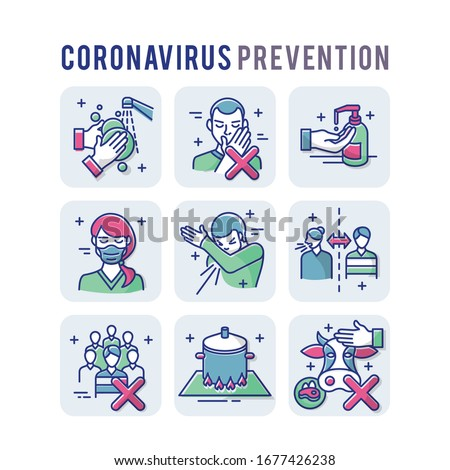 Coronavirus Prevention Set Icons Thin Style Pictogram Minimalist Colored