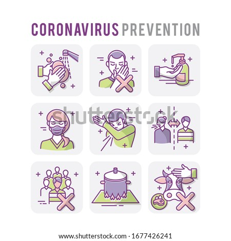 Coronavirus Prevention Set Icons Thin Style Pictogram Minimalist Colored