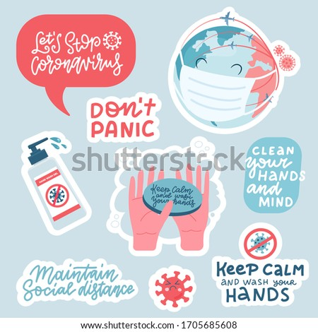 Coronavirus prevention sticker set. Hand drawn pack with lettering How to protect yourself - hand washing, avoid , sanitizer, don t panic. Cartoon badges with lettering quotes about COVID-19