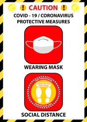 Coronavirus preventive signs. Basic protective measures against the coronavirus. Coronavirus advice for customer before entry shop to  Wearing mask, Use alcohol gel, Temperature test, Social distance.