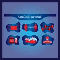 Coronavirus preventive signs. Basic protective measures against the new coronavirus. Coronavirus advice for the public via icons. Important information and guidance to stay healthy from Covid-19.
