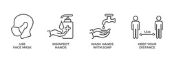 coronavirus protection and disease prevention icon set. use face mask, disinfect hands, wash hands with soap, keep your distance. medical infographic element and symbol for web design