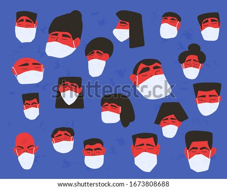 Coronavirus protection concept. Men and women in white medical face mask. Characters in prevention masks. Crowd of people protecting from virus infection. Pandemic of coronavirus. Vector illustration.