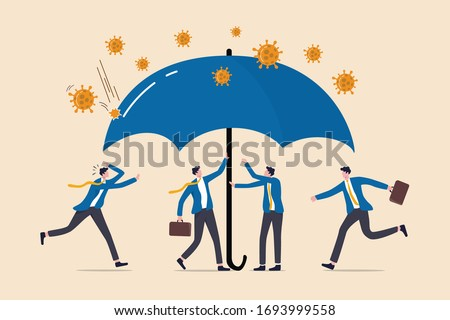 Coronavirus protection safe zone, COVID-19 insurance coverage or government policy to help business in Coronavirus crisis, businessmen people help to cover under umbrella to protect from Coronavirus.