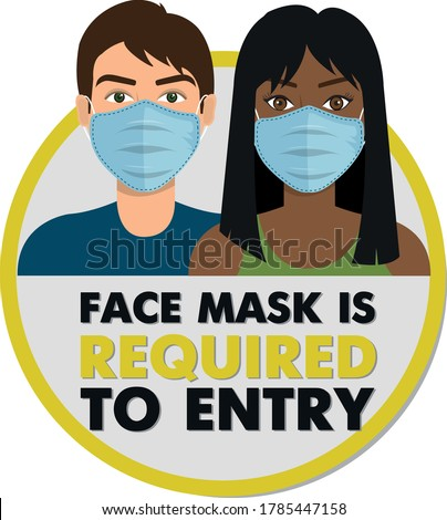 Coronavirus safety warning infographics. face mask is required to entry. No entry without a mask. Stockfoto ©