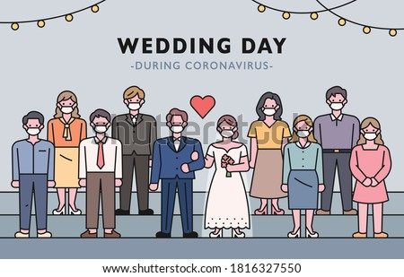 Coronavirus society wedding. The groom, the bride, and the guests are wearing masks and taking pictures. flat design style minimal vector illustration.