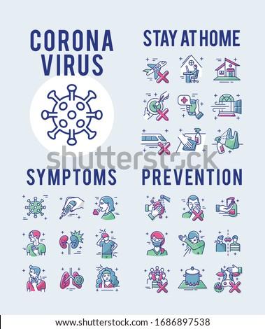 Coronavirus Symptoms and Prevention Set Icons Thin Style Pictogram Minimalist Colored