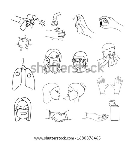 Coronavirus transmission routes and methods of protection against pandemic, influenza, viral and bacterial infections. Hand-drawn doodles show sneezing people, in protective masks, hands with gloves.