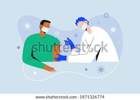 Coronavirus vaccination, doctor injecting a patient, getting first shot of covid vaccine in arm muscle. Medical doctor in protective suit and mask, process of immunization against covid-19, vector