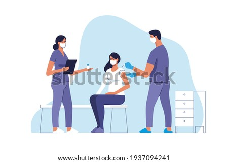 Coronavirus vaccination. Woman getting vaccinated against Covid-19 in hospital. Doctor giving Corona virus vaccine injection injecting patient. Vector illustration.