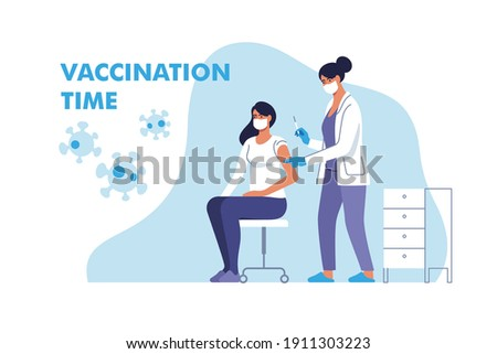 Coronavirus vaccination. Woman in face mask getting vaccinated against Covid-19 in hospital. Doctor giving Corona virus vaccine injection injecting patient. Vector illustration.