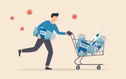Coronavirus vaccine affordability. People want to buy coronavirus vaccine to protect from covid19 virus. Shopping cart with COVID-19 vaccine bottle and syringe.