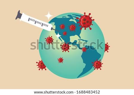 Coronavirus vaccine concept, syringe of vaccine and needle planting on USA United States map on green sickness planet earth with red Coronavirus COVID-19 pathogen around.