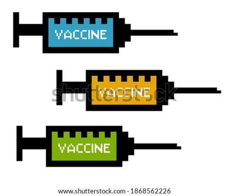 Coronavirus Vaccine injector icons.Vector illustration of coronavirus vaccine icons with pixel art style.