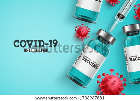 Coronavirus vaccine vector background. Covid-19 corona virus vaccination with vaccine bottle and syringe injection tool for covid19 immunization treatment. Vector illustration.