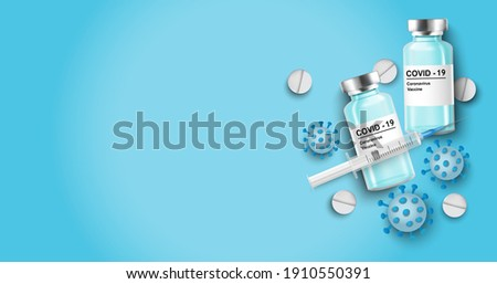 Coronavirus vaccine vector background. Covid-19 corona virus vaccination with vaccine bottle and syringe injection tool for covid19 immunization treatment. Vector illustration.Mock up