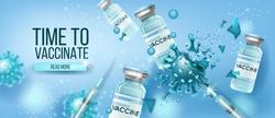 Coronavirus vaccine vector medical concept with glass bottles, destructing blue COVID-19 molecule.Global pandemic disease prevention health background. Scientific coronavirus vaccine protection design