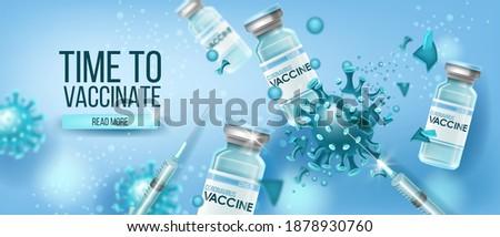 Coronavirus vaccine vector medical concept with glass bottles, destructing blue COVID-19 molecule.Global pandemic disease prevention health background. Scientific coronavirus vaccine protection design Stockfoto ©