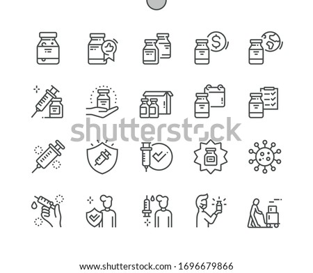 Coronavirus vaccine Well-crafted Pixel Perfect Vector Thin Line Icons 30 2x Grid for Web Graphics and Apps. Simple Minimal Pictogram