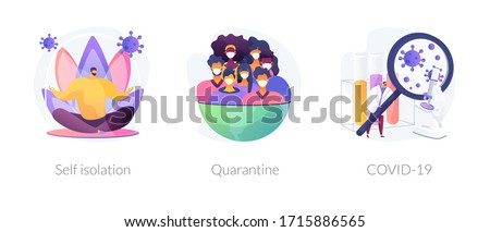 Coronavirus world pandemic abstract concept vector illustration set. Self isolation, quarantine, COVID-19, stay safe at home, social distancing, government strict measures abstract metaphor.