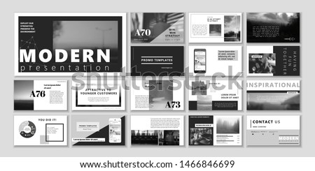 Corporate black white presentation template. Social media pack. Set of blog posts or Editable simple info banner, trendy book cd idea. For app, digital display style. Bright flyer. In orange color