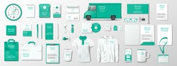 Corporate Brand Identity Mockup. Green color template design for organic shop. Realistic stationary, brochure, shirt, delivery van, mug blank mockup isolated. Vector