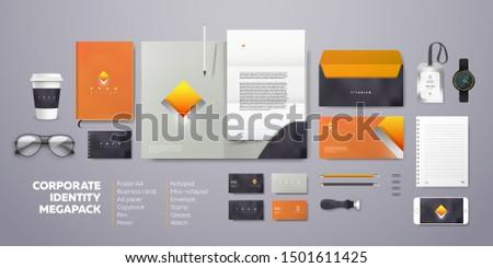 Corporate branding identity design. Stationery mockup vector template with orange logo.