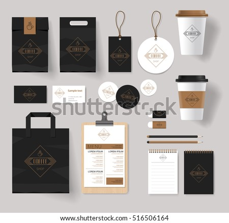 corporate branding identity mock up template for coffee shop and restaurant with card, menu, packaging,vector
