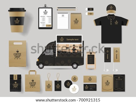 corporate branding identity mock up template for coffee shop and restaurant with card, menu, packaging,vector for editable
