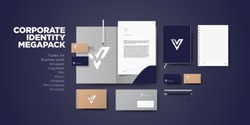 Corporate branding identity premium design. Stationery mockup vector megapack set. Template for business or finance company. Folder and A4 letter, visiting card and envelope.