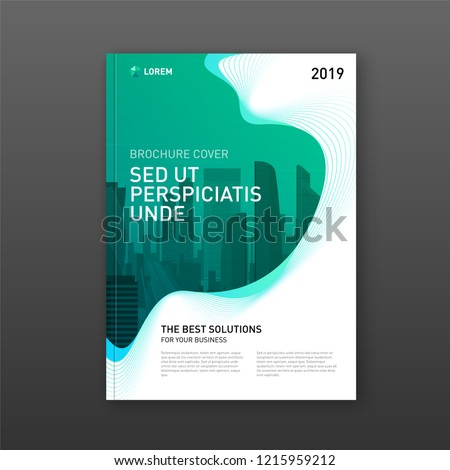 Corporate brochure cover design template for business and construction. Abstract geometry with colored cityscape vector illustration on background. Good for annual report, magazine, leaflet, poster.